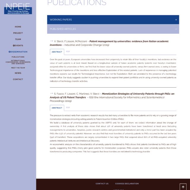 page dissemination du site web NPEIE