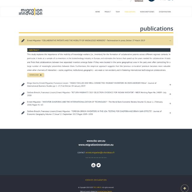page publications du site web TKC-ANR
