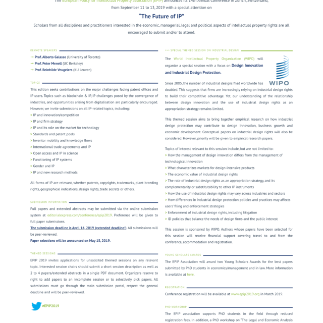 page call for papers du site web epip2019