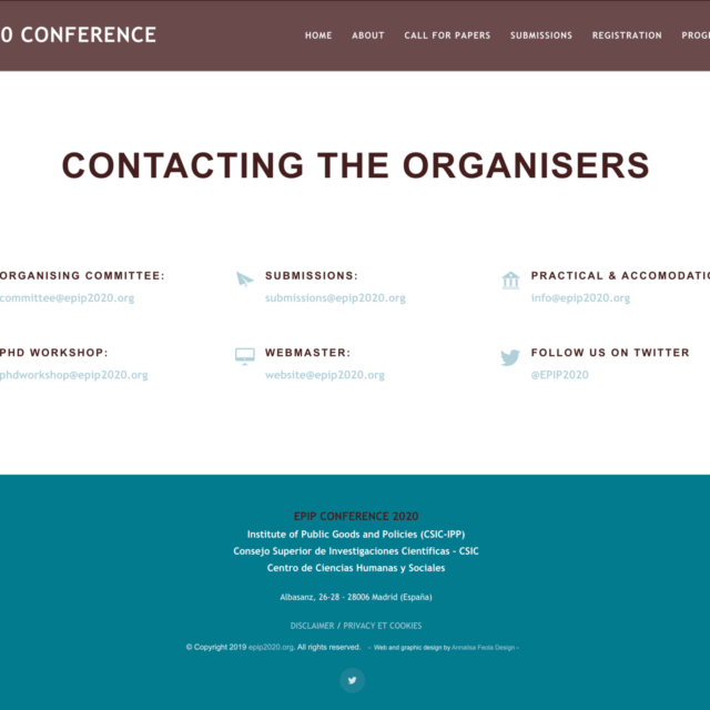 page contacts site web epip2020