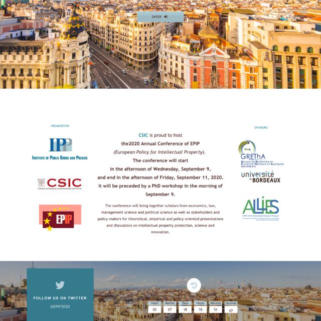 page d'accueil du site web epip2020